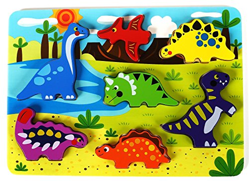 Cute Dinosaur Chunky Wooden Puzzle for Toddlers, Preschool Age w/ Easy-Hold Colorful Solid Wood Pieces. Simple Educational & Sensory Learning for 1, 2 & 3 Year Olds