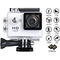 GULEEK 1080P Sports Action Camera Full HD Wide Angle Lens 2.0 inch LCD Screen Two Rechargeable Batteries Waterproof up to 30M Cam DV 5MP DVR Helmet Sports Camera with Kit of Accessories, White