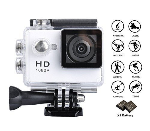 GULEEK 1080P Sports Action Camera Full HD Wide Angle Lens 2.0 inch LCD Screen Two Rechargeable Batteries Waterproof up to 30M Cam DV 5MP DVR Helmet Sports Camera with Kit of Accessories, White (Video Sports Camera Digital)