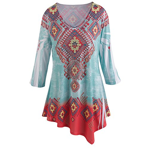 Women's Tunic Top - Southwest Ombre Print 3/4 Length Sleeve - Red & Blue - 1X