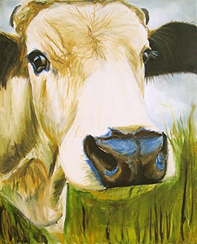 Amazon.com: Modern Oil Painting Print Art Animal Painting White Cow ...