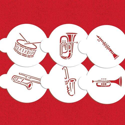 Marching Band Instruments Cookie Stencil by Designer Stencils