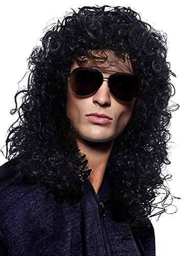 (YoungLove Men's Costume Hair Accessory Heavy Metal Rocker Cosplay Long Curly Black)