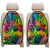 ZERODATE Colorful Rose 2 Pack Backseat Protector,Durable Washable Kick Mat to Protect The Seat,Easy to Wipe,Universal…