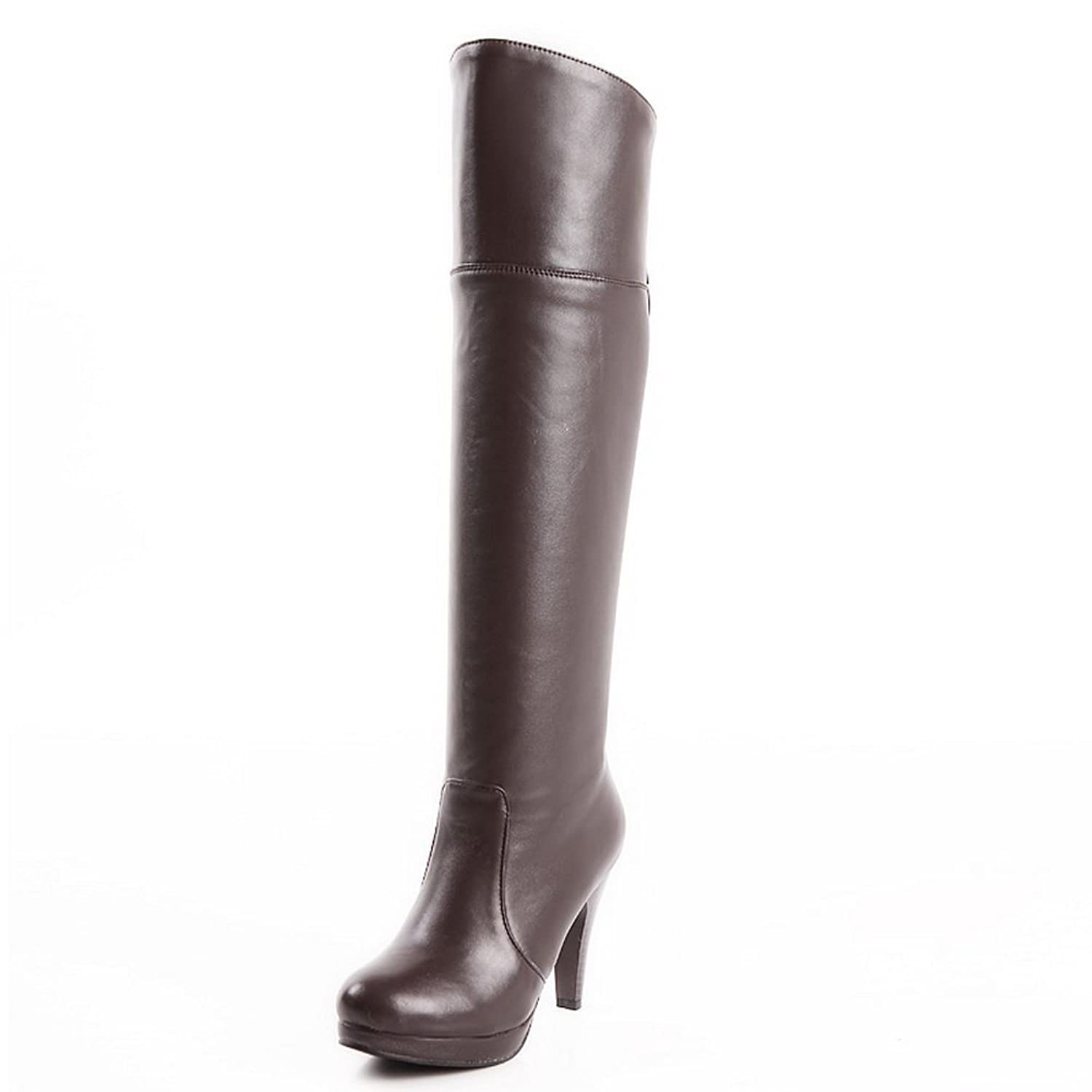 1TO9 Ladies Platform Fashion Cone-Shape Heel Round Toe Soft Material Boots