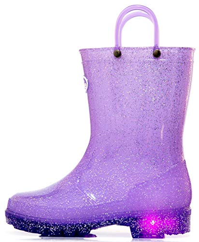 Outee Kids Rain Boots Toddler Girls Light Up Waterproof Shoes Glitter Lightweight Cute with Easy-On Handles and Insole (Size 3,Purple)