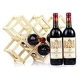 Cheap 10-Bottle Countertop Pine Wooden Folding Wine Rack Natural Color