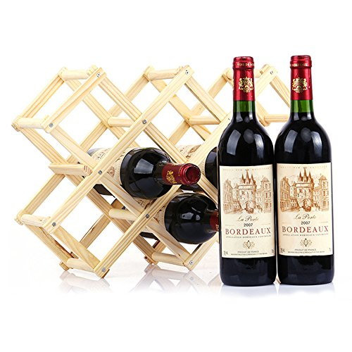 10-Bottle Countertop Pine Wooden Folding Wine Rack Natural Color