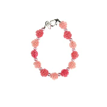 Baby and Child Bracelet with Pink /& Rose Flowers with Pink Pearls