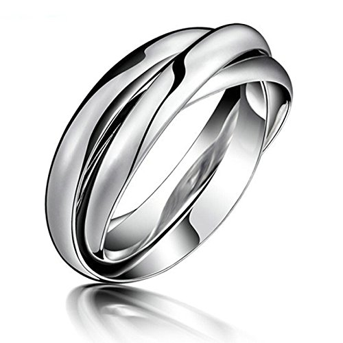 Stainless Steel 3 in 1 Ring Set (Silver/Blue) - 1