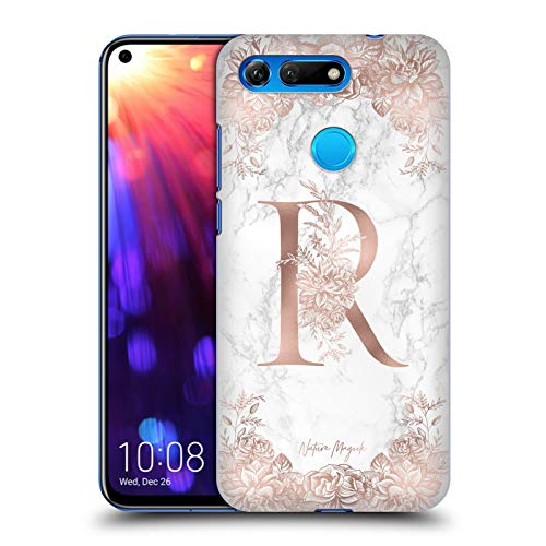 Official Nature Magick Letter R Rose Gold Marble Monogram 2 Hard Back Case Compatible for Huawei Honor View 20 / V20