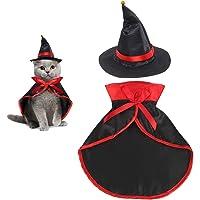 HUYIWEI Halloween husdjur kostym set, hund katt kostym kappa med magisk hatt, röd svart cosplay kläder för små hundar…