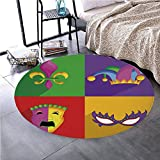 Memory Foam Round Area Rug Floor Kitchen Carpet, Mardi Gras,Colorful Frames with Mardi Gras Icons Masks Harlequin Hat and Print,Multicolor, Soft Flannel Non-Slip Absorbent Mat №04446