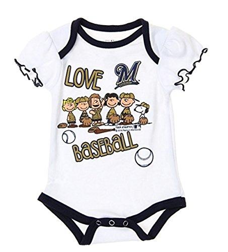 Outerstuff MLB Milwaukee Brewers Baby Girls Infants Peanuts Love Baseball Creeper, White. (Baseball Brewers Milwaukee White)