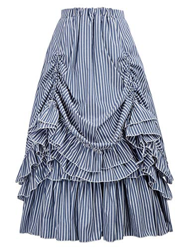 Belle Poque Striped Steampunk Victorian Gothic Dresses for Women(L,Blue & White 2) -