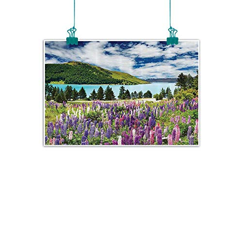 Apartment Decor Collection Chinese classical oil painting Mountain lake and Colorful Flowers Blossom Pine Trees New Zealand Lakeside View for Living Room Bedroom Hallway Office 32