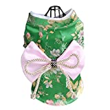 Creation Core Adorable Brocade Pet Kimono Dress Japanese Style Pet Dress Floral Bowknot Pet Costume for Dogs Cats, Green S