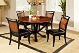 Circular Dining Table Furniture of America Sahrifa Duotone Round Dining Table, Acacia and Black Finish