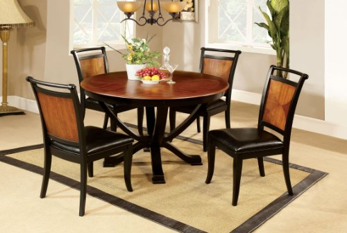 Complete Dining Room Set - Furniture of America Sahrifa Duotone Round Dining Table, Acacia and Black Finish