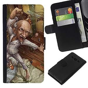 Saludable abuelo Arte Dibujo- la tarjeta de Crédito Slots PU Funda de cuero Monedero caso cubierta de piel Para Samsung Galaxy A3