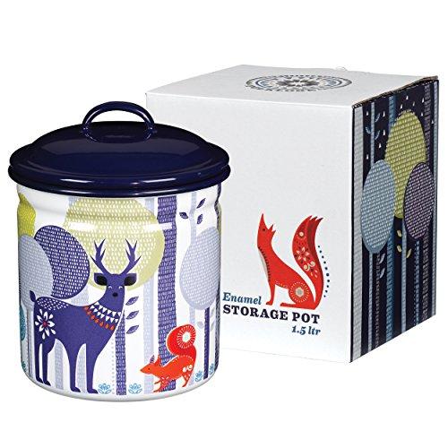 - Folklore Enamel Storage Pot, Day Design, White