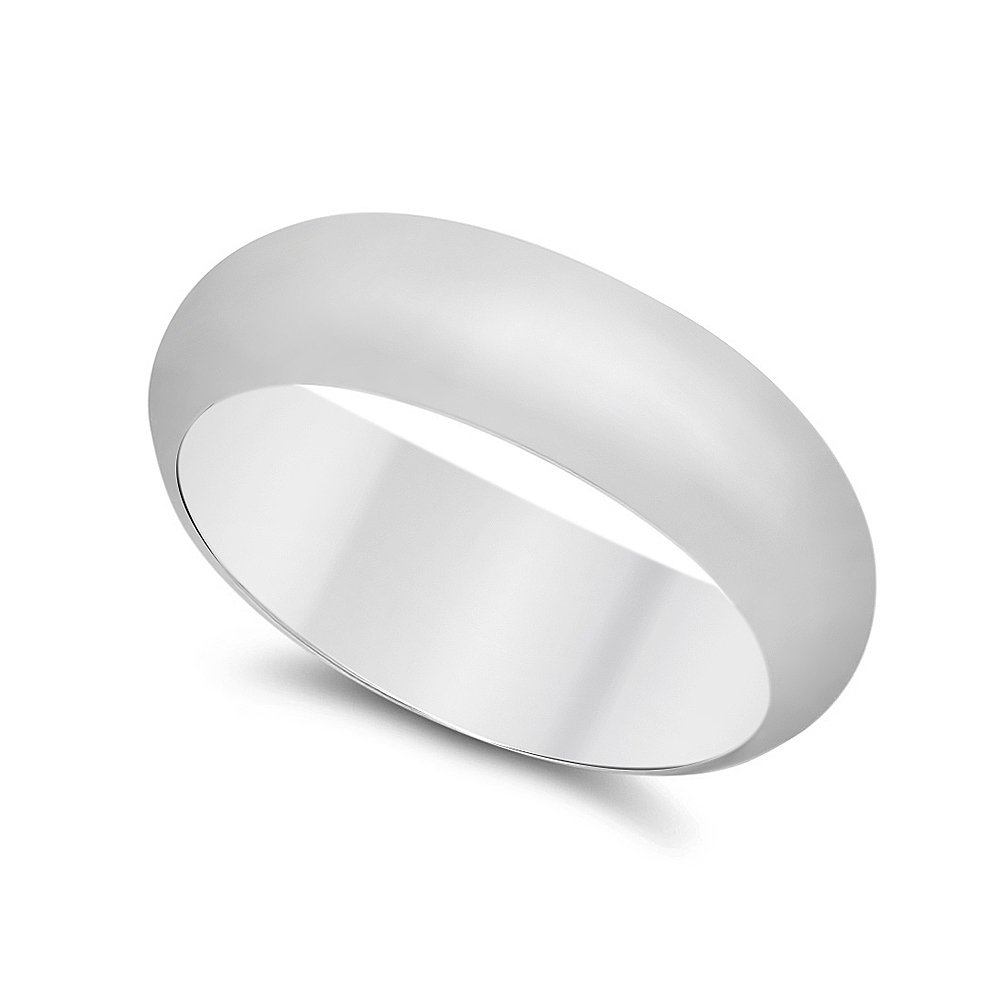 925 Sterling Silver Nickel-Free 6.8mm Domed Wedding Band, Size 10 - Made in Italy + Cleaning Cloth