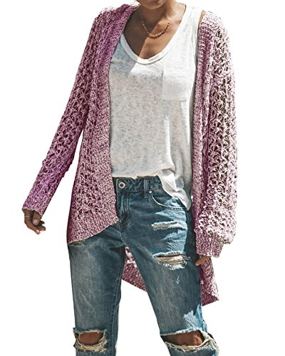 Chunk Open Front Crocheted Cardigan Sweaters Oversized Knit Tops ()