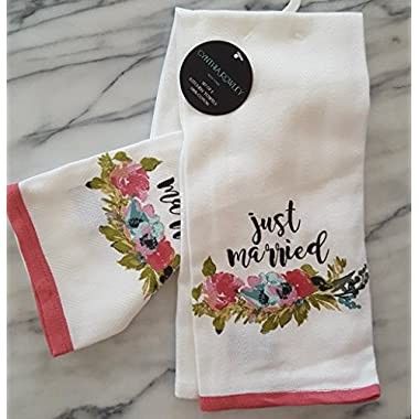 Cynthia Rowley Wedding Kitchen Towel Sets (100% Cotton) Linen Gifts (Just Married Watercolor Flowers)