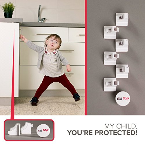 ElitTop Child Magnetic Safety Locks for Cabinets & Drawers {8 locks 2 Keys} Invisible No Drilling + the Most Useful Baby Proofing Bonuses; 4 Stove Knob Covers + 6 Outlet Covers