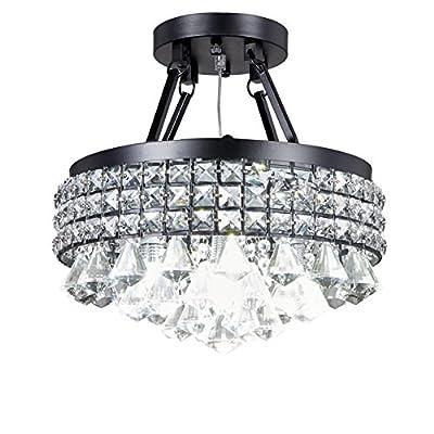 Top Lighting 4-light Antique Black Round Metal Shade Crystal Chandelier Semi-Flush Mount Ceiling Fixture