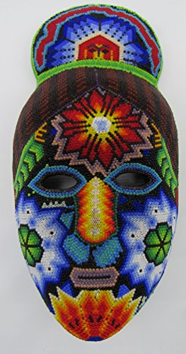 Huichol Mask (HUICHOL BEADED WOMENS MASK from Jalisco, México, 6,800+ Chaquiras Certificate of Authentication from UMAC (Black-Red Hair))