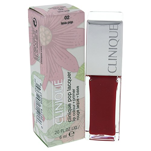 Lip Lacquer Clinique (Clinique Pop Lacquer Lip Color + Primer, No. 02 Lava Pop, 0.2 Ounce)