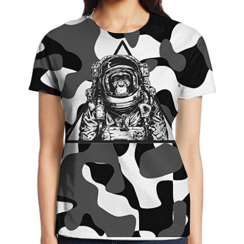 Astronaut Money In A Triangle Frame Women T-Shirt 3D Printed Short Sleeved - Printed Frames 3d