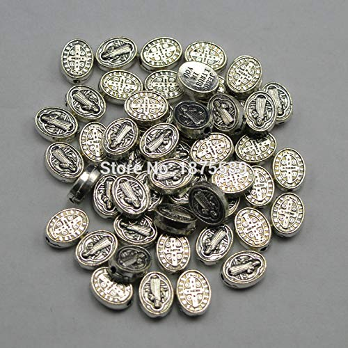 Calvas Oval Shape Fashion Metal Bead with St Benedict Flat Oval Alloy Religious Jewelry findings