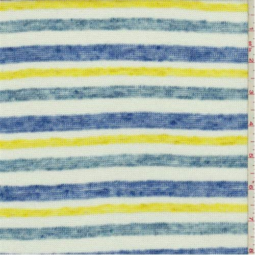 (Blue/White/Yellow Striped Jersey Knit, Fabric by The Yard)
