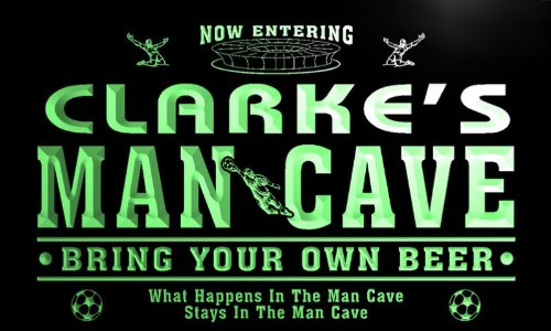 qd1482-g CLARKE's Man Cave Soccer Football Neon Beer Sign by AdvPro Name