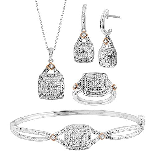 - 1/5 ct Diamond Pendant, Bangle, Ring, Earrings Set in Sterling Silver-Plated Brass