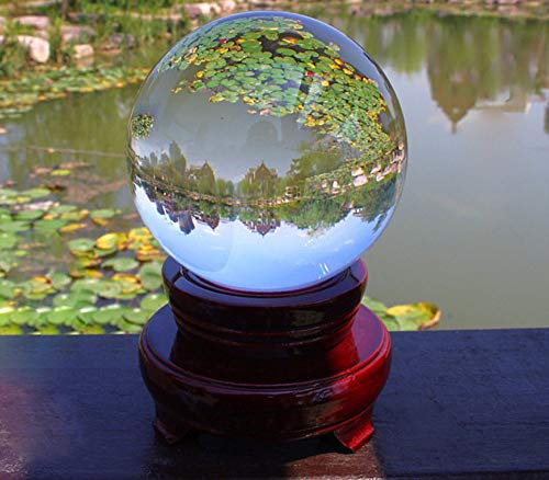 SunAngel Photography Clear Crystal Ball Photography Art Decor K9 Crystal Orb with Wooden Stand (110MM with Stand, Clear) ()