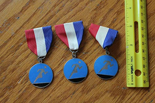 New York Track Running or Cross Country Medal Award ribbons vintage Blue Enamel