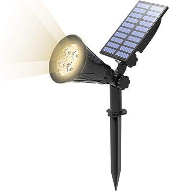 T-SUN Foco Solar, Impermeable Luces Solares Exterior, Luz de Jardín, 2 Modos de Iluminación Opcionales, ángulo de 180° Ajustable, Luz de Proyecto Solar para Jardín , Entrada, Camino. (4000K) : Amazon.es: Hogar