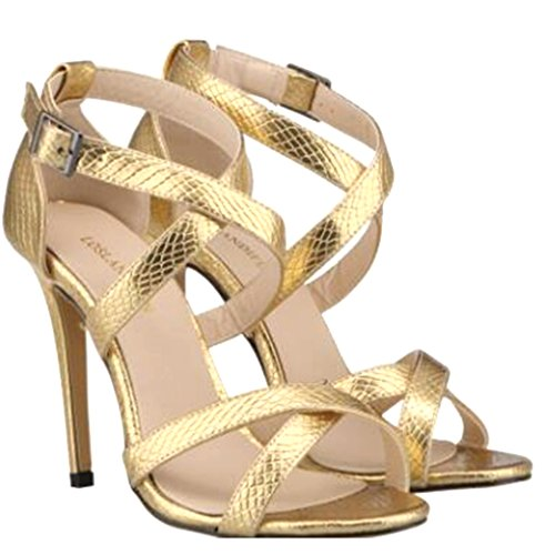Cruz para Correa Noche de con Hebilla Dorado Zapatos de Alto Tacón Patrón de cocodrilo Sandalias Genepeg de Mujer fIYxw