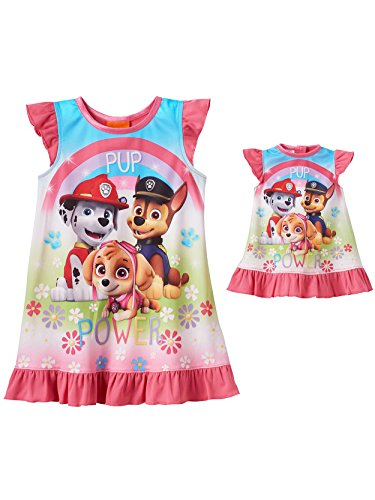 Paw Patrol Girls Nightgown Pajamas with Doll Gown (Toddler) (4T, Pup Power Pink)