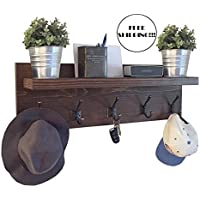 Rustic Coat Rack with Floating Shelf and Bronze Hooks