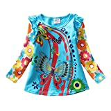 VIKITA 2017 Kid Girl Cotton Butterfly Lace Long Sleeve T Shirt Clothes L3916BLUE 18-24 Months