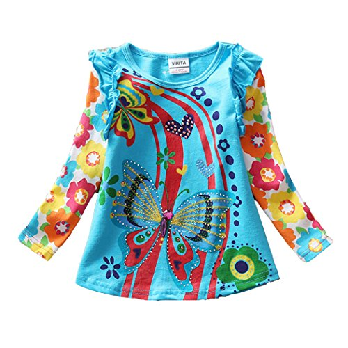 2017 VIKITA Kid Girl Cotton Butterfly Lace Long Sleeve T Shirt Clothes L3916BLUE 5-6 (Butterfly Clothes)