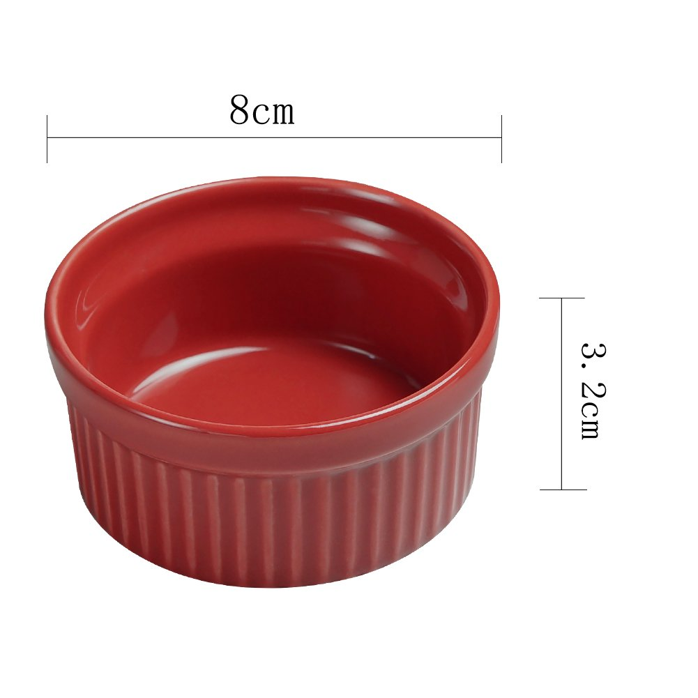 Cinf  Porcelain Ramekin Red 4 oz. Pudding Bowls Dishes Cup For Baking, Set Of 6 by Cinf (Image #8)