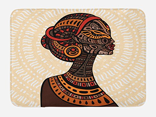 Ambesonne African Woman Bath Mat, Hand Drawn Ethnic Illustration Profile Portrait Tribal Ornaments Folk Art, Plush Bathroom Decor Mat with Non Slip Backing, 29.5 W X 17.5 W Inches, (Folk Art Portraits)