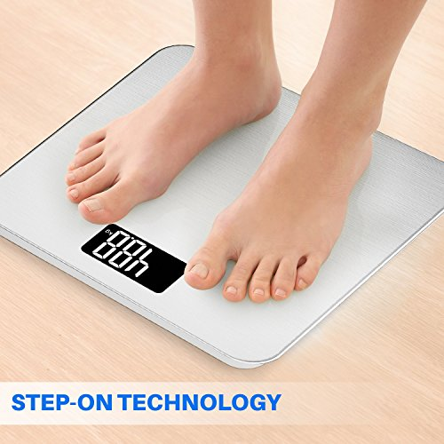 Smart Weigh Digital Weight Scale,Tempered Display,Precision Measurements,Step-On Technology, Pounds,Silver