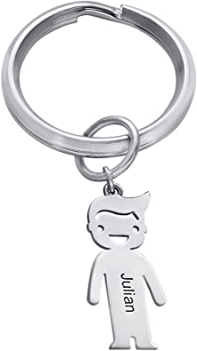 Personalised engraving Padlock style Keyring Dog Bone in Sterling Silver