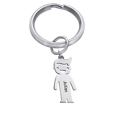 Amazon.com: MyNameNecklace - Llavero personalizado de plata ...